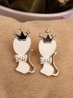 http://www.aliexpress.com/store/product/Fashion-Earrings-2014-Women-Jewelry-Cute-Animal-Cat-Long-Design-Stud-Earring-Gril-Free-Shipping/239061_1728837705.html Find More   Information about  New Fashion Long Gold Plated Crystal Cute Animal Crown Stud Earrings Women in Jewelry Wholesale 2014,High Quality  ,China   Suppliers, Cheap   from Hawaii Arts Jewelry