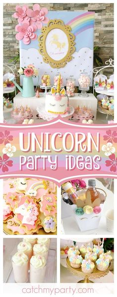 Take a look at this colorful unicorn birthday party. The mix of unicorn themed decorated cookies are wonderful!! See more party ideas and share yours at CatchMyParty.com #catchmyparty #partyideas #unicornbirthdayparty