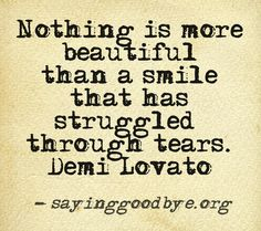 Nothing is more than a smile that has struggled through tears - Demi Lovato