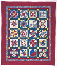 Hearts, Bars & Shooting Stars Quilt Design  Sampler type quilt.  True Lover's Knot - Block 4