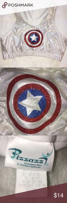PIZZAZZ CAPTAIN AMERICA MEDIUM SPARKLY SPORTS BRA PIZZAZZ CAPTAIN AMERICA MEDIUM SPARKLY SPORTS BRA. GREAT FOR LAST MINUTE HALLOWEEN COSTUME. GREAT CONDITION. SILVER SPARKLY. MAKE AN OFFER. pizzazz Intimates & Sleepwear Bras