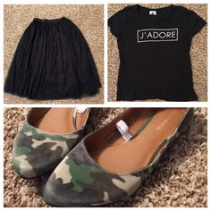 Bundle deal for jarah96 Tulle skirt ($12), J'adore tee ($10), and camo flats ($5 using my BOGO deal!) LOVE THIS BUNDLE SO MUCH! Old Navy Skirts A-Line or Full