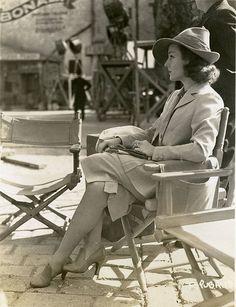 1930s Carole Lombard sitting on a movie set