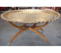 Large round hand hammered brass tray table top on folding mahogany wooden stand Size: 36 Moroccan Lounge, Moroccan Table, Moroccan Decor, Morrocan Coffee Table, Iron Furniture, Lounge Furniture, Home Decor Furniture, Style Marocain, Brass Coffee Table