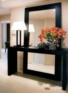 Mirror behind entryway piece