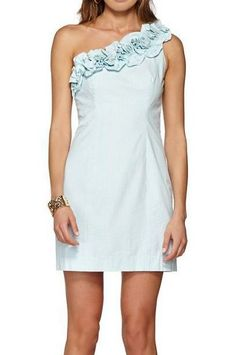 Lilly Pulitzer Vivienne One Shoulder Ruffle Shift Dress