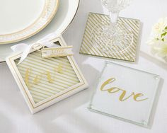 Gold Love Glass Coaster Favors (Kate Aspen 27096NA) | Buy at Wedding Favors Unlimited (https://www.weddingfavorsunlimited.com/gold_love_glass_coaster_favors.html).