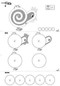 Oefenen om een kip te kunnen tekenen! Begin bij stap 1 en ga zo iedere keer een stapje verder. Symbols, Letters, School, Art, Fine Motor, Crowns, Graphic Design, Easter Activities, Art Background