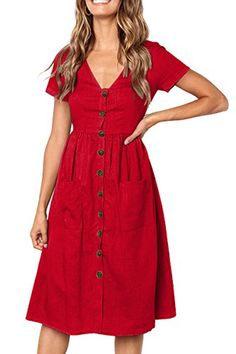 Summer Dress  $19.99 Boosouly Women High Wasited Button Dress Casual Looose Fit V Neck Summer Dress Red M Red Summer Dresses, Summer Outfits, Dress Clothes For Women, Button Up Dress, Color Shorts, Casual Dresses, Short Sleeve Dresses, Shirt Dress, Sleeves