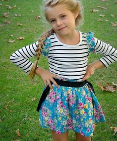 Take a look at this Blue Stripe & Floral Ruffle Dress - Toddler & Girls on zulily today!
