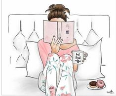 Illustration Fashion Its going to be a lazy day. Reading in bed, pajamas, coffee, donuts :) Illustration Mode, Landscape Illustration, Illustration Fashion, Fashion Illustrations, I Love Books, Book Nerd, Fashion Sketches, Book Lovers, Book Worms