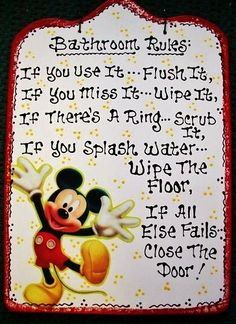 7x11 Bathroom Rules Disney MICKEY MOUSE SIGN Bath Sign Handcrafted Plaque | eBay