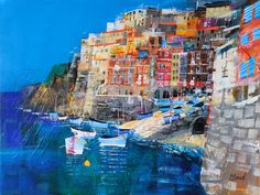 Riomaggiore, Italy (painting by Mike Bernard) Abstract Landscape Painting, Landscape Art, Landscape Paintings, Mike Bernard, Michael Bernard, Italy Painting, Building Art, Kitsch, Collage Art