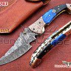 Damascus custom handmade folding/hunting knife, liner lock,camel bone