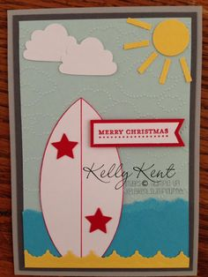 Made by Kelly Kent - surfboard gift voucher #stampinup