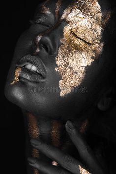 Fashion Portrait Of A Dark-skinned Girl With Gold Make-up. Stock Image - Image of black, concepts: 60243813 Fashion portrait of a dark-skinned girl with gold make-up. Black Girl Art, Black Women Art, Art Girl, Art Visage, Feuille D'or, Face Pictures, Gold Aesthetic, Gold Art, Face Art