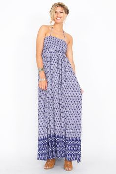 Blue Abstract Printed Smocked Maxi Dress with open back and cutouts. Can be worn as a halter. Made from rayon fabric. Dress has a silky appearance and feel, breathable similar to cotton fabric. Purchase for only-$45.00! via PayPal at our ebay store at: www.ebay.stores.com/theofferbazaar and also available via our SSL Encrypted web-store at: www.shopdirectonline.net. Follow us on Pinterest for tons of great fashion ideas  plus makeup and nail tips, at: www.pinterest.com/shopdirectonlin.