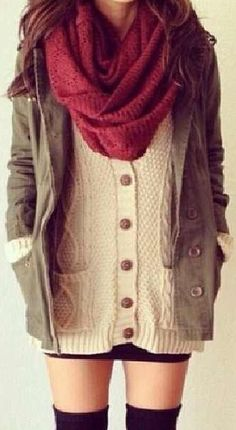 Cable cord cream button up sweater | Army green jacket | Burgundy scarf | Black skirt