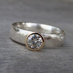 Items similar to Moissanite, Recycled Gold, and Recycled Sterling Silver Wedding Ring, Made To Order on Etsy Metal Jewelry, Diamond Jewelry, Jewelry Rings, Silver Jewelry, Jewelry Accessories, Jewelry Design, Diamond Rings, Gold Jewellery, Sterling Silver Wedding Rings