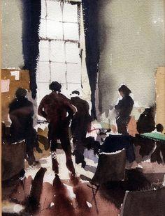 "John Yardley. Figures in front of a Sunlit Window. watercolour. 9"" x 7"""