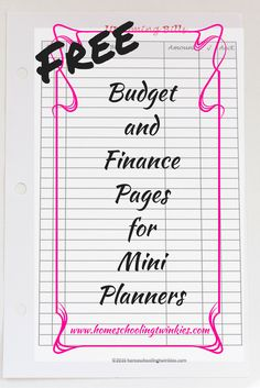 Free Budget and Finance Pages for mini binders and planner to help keep track of your money, savings, accounts, and upcoming bills.