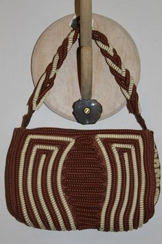 vintage 50's telephone cord purse beige and brown by brolliarfound, $65.00