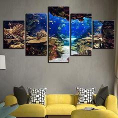 5 Panel Print Decor, Underwater Sea Fish Canvas Set, Coral Reefs Wall Art, Seascape Nature Landscape Wall Prints, Gift for Home Decoration by ArtCubby on Etsy Canvas Pictures, Pictures To Paint, Print Pictures, Wall Prints, Canvas Art Prints, Canvas Wall Art, 5 Panel Wall Art, Underwater Fish, Landscape Walls