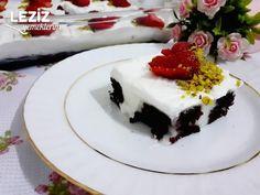 Muhallebi Dolgulu Kek Tarifi - Leziz Yemeklerim Cheesecake, Desserts, Food, Tailgate Desserts, Deserts, Cheese Cakes, Eten, Postres, Dessert