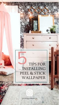5 Tips For Installing Peel and Stick Wallpaper. DIY Wallpaper Tutorial. Accent Wall Ideas. Easy Begginer Project. Kids Room Decor. Girls Bedroom Inspo. #peelandstickwallpaper #walldecor #accentwall #diyhomedecor #diyprojects #kidsroomsdecor