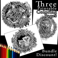 Introducing three #printable #coloring pages - support an artist and enjoy #stressrelief - link to shop in my bio!  thanks folks and let me know what you think! #adultcoloring #myart #owl #birdart #wolfdrawing #celticknot #adultcoloringbook #naturelovers #animallovers by callanatrament