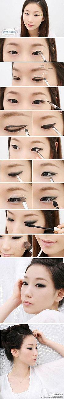 Make-up Korean Eyeliner Katzenaugen 65 neue Ideen Monolid Makeup, Asian Eye Makeup, Cat Eye Makeup, Hair Makeup, Eyeliner Makeup, Korean Makeup, Monolid Eyes, Make Up Looks, Beauty Make-up