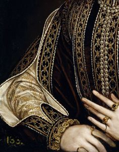 """A Lady with a Fan"" (1570-1573) (detail) by Alonso Sánchez Coello (c. 1531-1588)."