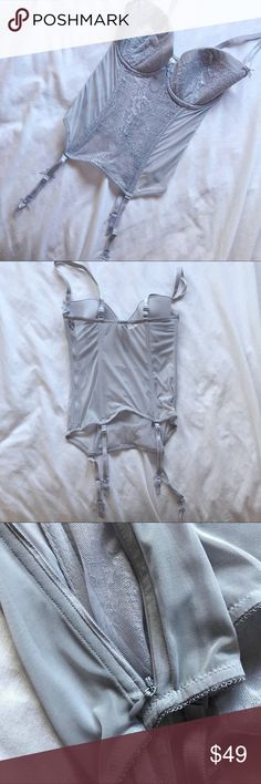 "victoria's secret gray corset lingerie ❥ mesh and lace . see thru aside from the cups. boning on each side. garter straps with bow details. straps are adjustable  ❥ new with tags ❥ approx: under bust 24"" stretches to about 36"",  waist 24"" stretches to about 40"", length 16"" not including straps Victoria's Secret Intimates & Sleepwear"