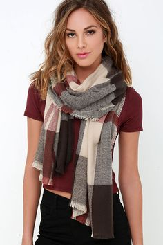 Wildwood Cabin Brown and Beige Plaid Scarf at Lulus.com! Only $16!
