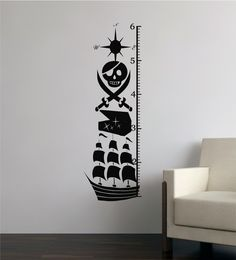 63x22 Pirate Growth Chart Ship Skull Vinyl Decor Wall Lettering Words Quotes Decals Art Custom Willow Creek Signs