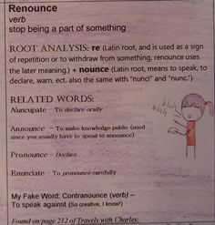 """One of our ten options for Vocabulary Workshop is called """"Root-Related Word Display.""""  Here's a great one from 6th grader Jackie!  Learn about our Vocabulary Workshop here: http://www.corbettharrison.com/Vocabulary.htm"""