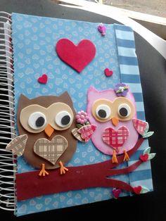 capa de caderno de corujinhas