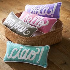 Hello Pillow | PBteen...this could be an easy DIY
