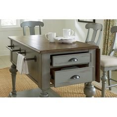 Apollinaire Kitchen Island with Wood Top