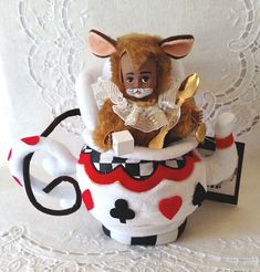 Your place to buy and sell all things handmade Dormouse Alice In Wonderland, Green Cups, Madame Alexander Dolls, Cup Design, Soft Sculpture, Vintage Dolls, Teapot, Painting On Wood, February