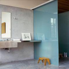 blue glass - grey walls - bathroom