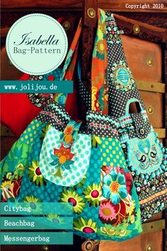 Bag Isabella, Creative Ebook - farbenmix online shop - Sewing Patterns, instructions for sewing Patchwork Bags, Quilted Bag, Bag Patterns To Sew, Sewing Patterns, Diy Sac, Handmade Purses, Fabric Bags, Sewing Accessories, Cute Bags