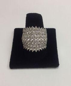 IMENA .925 Pave Crystal Cluster Ring Sz 8  | eBay