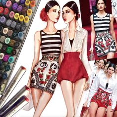WIP - Dolce & Gabbana Spring 2015 | Illustration by Paul Keng