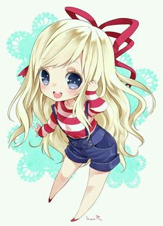 Chibi girl   Blonde, retro 50s style   chic , anime, manga art   Red and white striped shirt