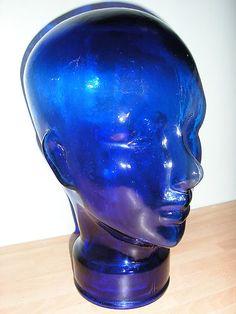 COBALT BLUE MANEQUIN GLASS HEAD