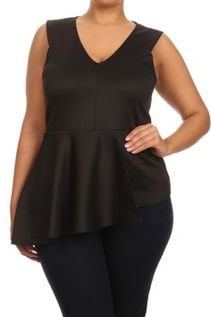Plus Size Sweet Asymmetrical Peplum Top Plus Size Clubwear, Plus Size Women's Tops, Cap Sleeves, Night Out, Peplum, Sweet, Collection, Fashion, Candy