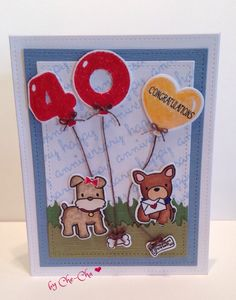 40 anniversary card for Ron & Chris 2015 Mama elephant -playful pups Avery Elle -numbered balloons  Lawn fawn-sentiment