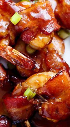 Bacon Wrapped Honey Garlic Prawns (Shrimp)