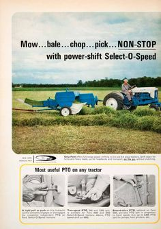 This is an original 1964 two-page color print ad for tractors from the Ford Motor Company. Please see additional images. CONDITION This year old Item is rated Very Fine ++. Light aging throughout. Antique Tractors, Vintage Tractors, Old Tractors, Vintage Farm, New Tractor, Tractor Parts, New Holland Ford, Tractor Accessories, Cars